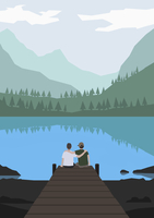 Illustration of friends sitting on pier by lake against mountains
