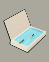 Illustration of woman swimming in book representing vacations