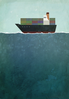 Illustration of cargo ship sailing on sea