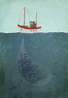 Illustrative image of fishing trawler on sea