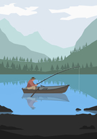Illustration of man fishing in lake against mountains