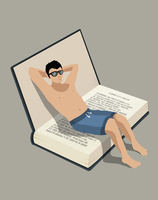 Illustration of shirtless man sitting on book representing vacations