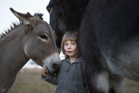 Portrait of cute girl standing with donkeys on field