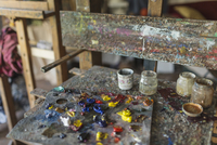 High angle view of palette in studio