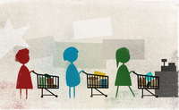Women standing in row with shopping carts at supermarket