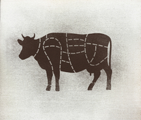 Butcher's diagram of cow against white background