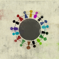 Multi colored children standing side by side around circle