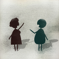 Illustration of man and woman talking on footpath