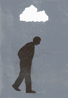 Rainfall over sad man against gray background