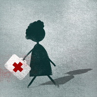 Woman with first aid kit walking on street