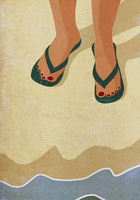 Low section of woman wearing slippers standing at sea shore