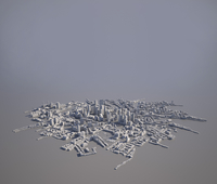 High angle view of cityscape model on gray background