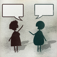 Illustration of man and woman with speech bubble
