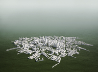 High angle view of cityscape model on green background