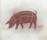Butcher's diagram of pig against white background