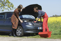 Woman looking at smiling mechanic repairing car at roadside