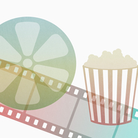 Illustration of popcorn box with film strip and reel against white background