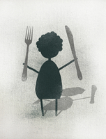 Illustration of woman holding fork and knife while standing against white background