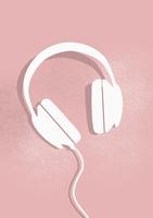 Digital composite image of headphones on pink background