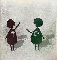 Illustration of multi religion men talking against white background
