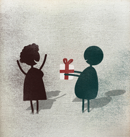 Illustration of man giving gift box to happy woman against white background