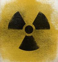 Close-up of radioactive warning symbol