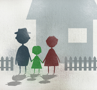 Illustration of family holding hands while standing outside house