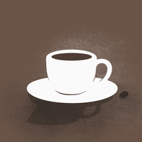 Digital Composite image of coffee cup with saucer against brown background