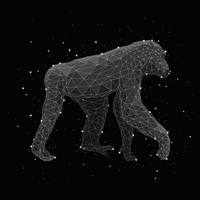 Digital composite image of constellation forming chimpanzee against black background