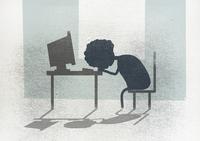 Illustration of businesswoman sleeping at desk in office 11016032763| 写真素材・ストックフォト・画像・イラスト素材|アマナイメージズ