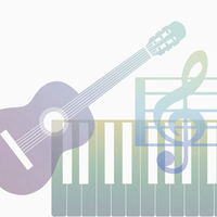 Digital composite image of colorful guitar and piano keys with treble clef against white background