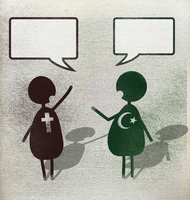 Illustration of multi religion men with speech bubbles against white background