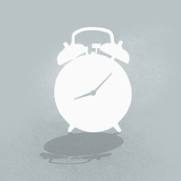 Composite image of alarm clock against gray background