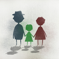 Illustration of family holding hands while standing against white background