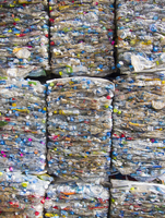 Full frame shot of crushed plastic bottles for recycling