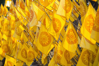 Full frame shot of yellow prayer flags at temple