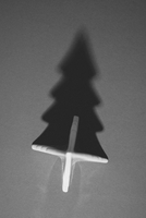 Directly above shot of Christmas tree and its shadow on gray background