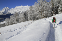 Woman walking on snow covered field against mountains 11016033109| 写真素材・ストックフォト・画像・イラスト素材|アマナイメージズ
