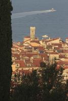 High angle view of town and lake