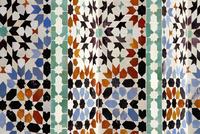 Full frame shot of Moroccan tiles at Ben Youssef Madrasa, Marrakesh, Morocco