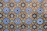 Full frame shot of mosaic tiles at Ben Youssef Madrasa, Marrakesh, Morocco