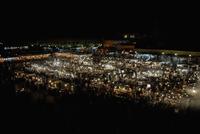 Illuminated Jamaa el Fna square at night, Marrakesh, Morocco 11016033231| 写真素材・ストックフォト・画像・イラスト素材|アマナイメージズ