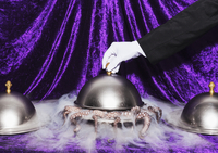 Cropped image of waiter lifting domed tray 11016033270| 写真素材・ストックフォト・画像・イラスト素材|アマナイメージズ