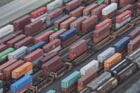 High angle view of cargo containers in shunting yard