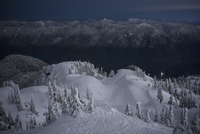 Idyllic view of snowcapped Mount Seymour at dusk, British Columbia, Canada