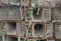 High angle view of fishing cages