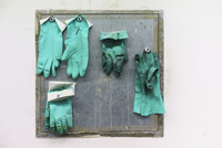 Green gloves hanging on wall in factory
