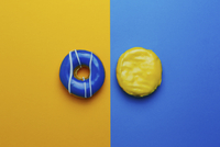 Donuts on colored background