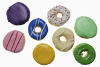 High angle view of donuts on white background