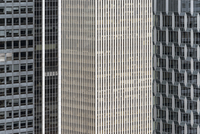 Conceptual, close-up, full frame view of modern office buildings, Manhattan, NYC